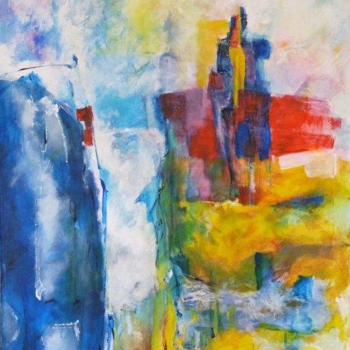 Vallend water 2005 - acryl op doek - 80 x 100